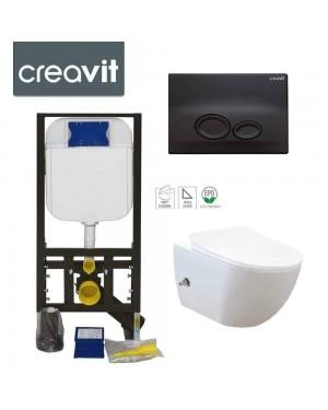 Rimless Wall Hung Bidet Douche Toilet Pan Incl Frame & DROP Black Button