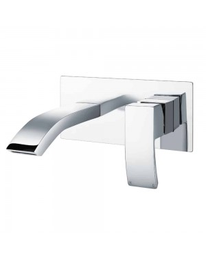 Sleek Chrome Modern Wall Mounted Waterfall Basin Sink Mixer Tap Single Lever