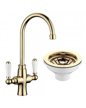 Traditional Kitchen Sink Mixer Tap incl Gold Basket Strainer Waste & Plug