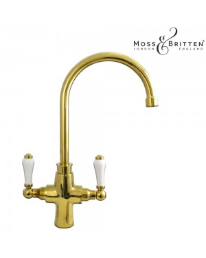 Moss & Britten Traditional Mono Kitchen Sink Mixer Tap Gold
