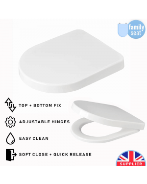 Luxury Soft Closing Long D Shaped Toilet Seat with TOP & BOTTOM Fixings