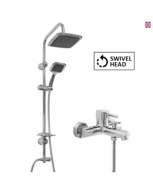 Black Overhead Shower Kit & Round Bath Shower Mixer