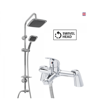 Black Overhead Shower Kit & Flamingo Bath Shower Mixer