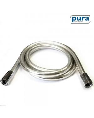 Pura Bathroom Shower Hose 2 Metre - 8mm Luxury Smooth Chrome PVC Plastic