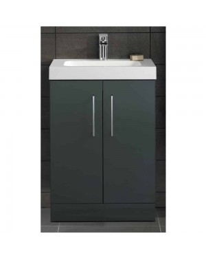 Anthracite Square Lomond 500 Bathroom Cabinet Vanity Unit Double door Storage