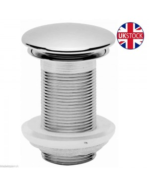 BATHROOM BASIN SINK WASTE FULL COVER CLICKER UN-SLOTTED - CHROME -  (W91)