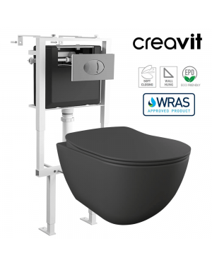 Creavit Matt Anthracite Short Projection Wall Hung Toilet Pan & Concealed Cistern Frame