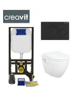 Concealed Wall Hung Toilet Adjustable Cistern Frame & Flush Plate SPA Black