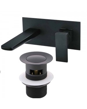 Matt Black Wall Mount Basin Filler Tap Incl Summer Clicker Waste