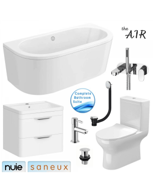 Complete Bathroom Suite with Rimless Toilet & Vanity Drawer Unit