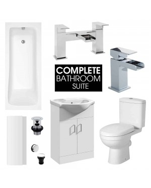 Complete 1700mm Bathroom Suite Bath Close Coupled Toilet Waterfall Basin Tap