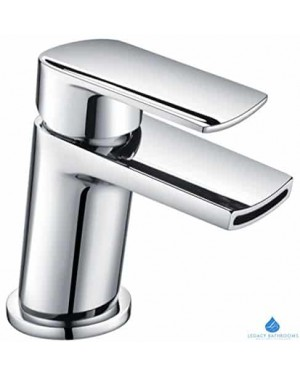 Waterfall Basin Sink Tap Square Mixer Chrome Mono Tap Luxury Bathroom Cloakroom