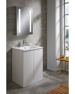 Bathroom Vanity Unit 600mm Rothes Double Door Ceramic Basin White