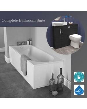 Bathroom Suite Single Ended 1700 Bath 1000mm Basin Vanity Unit Toilet Black Ash