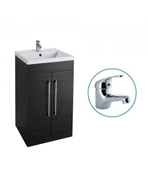 Black Ash 500mm Bathroom Basin Sink Vanity Unit Cabinet Modern Square Including FREE BASIN TAP (DOM)