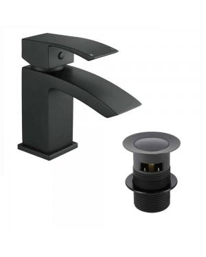 Black Mini Lucia Mono Basin Mixer Tap Incl Clicker Waste