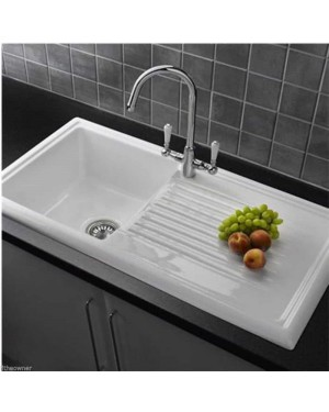 Reginox 600 RL304CW White Ceramic 1.0 Bowl Modern Kitchen Sink & Waste Kit