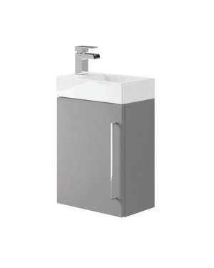 Bathroom Cloakroom Compact Vanity Unit Wall Hung DOVE GREY - MADE IN THE UK