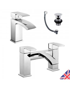 Square Waterfall Chrome Bath Filler Mixer & Basin Sink Mono Tap Inc Waste