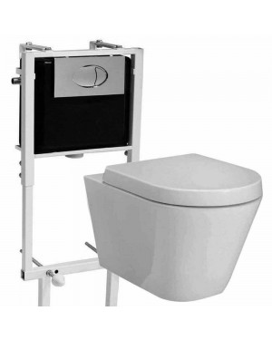 Concealed cistern frame & Highlife Jura Wall Hung Toilet pan & Soft Close Seat Bathroom Set