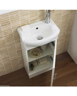 White Bathroom Cabinet Vanity Basin Sink Unit Cloakroom High Gloss 400mm