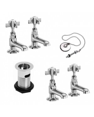 Traditional Bath & Basin Tap Pair with Waste