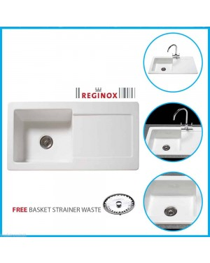 Reginox RL504CW 1 Bowl White Ceramic Reversible Kitchen Sink & Waste