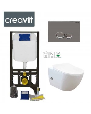 Rimless Wall Hung Bidet Douche Toilet Pan Incl Frame & DROP Chrome Button