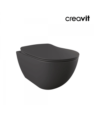 Creavit Short Projection Wall Hung Toilet & Seat Anthracite Matt