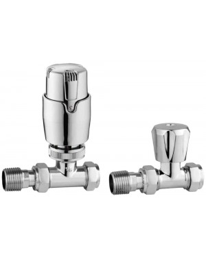 Modern Thermostatic Straight Radiator Valve Set
