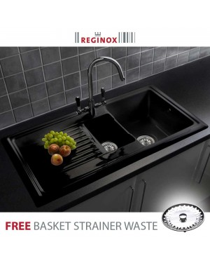 Reginox 600 RL401CB Black Ceramic 1.5 Bowl Reversible Modern Kitchen Sink