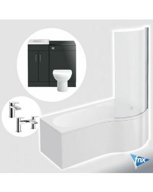 P Shape Right Hand Bathroom Suite in Anthracite Vanity Unit BTW Pan Square Tap Set