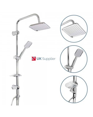 Square Chrome Overhead Rain Shower Kit Dual Rigid Riser Modern Hand Held Set