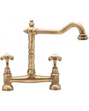 Tre Mercati French Classic Bridge Sink Mixer, Antique Brass 187