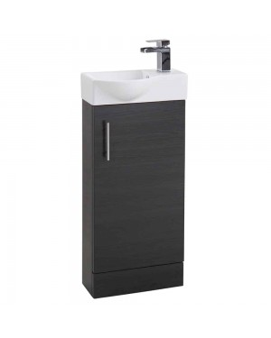 Black Ash 400 Modern Compact Vanity Cabinet Basin Sink Unit Cloakroom Bathroom
