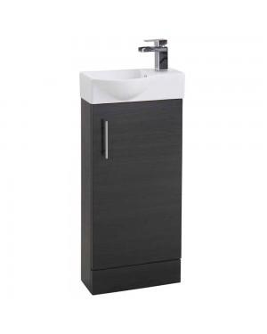 Black Ash 400 Modern Compact Vanity Cabinet Basin Sink Unit Cloakroom Bathroom