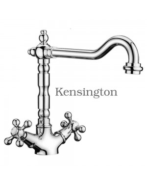 Chrome Kitchen Sink Tap Mono Bloc Mixer Traditional French Classic Cross Head