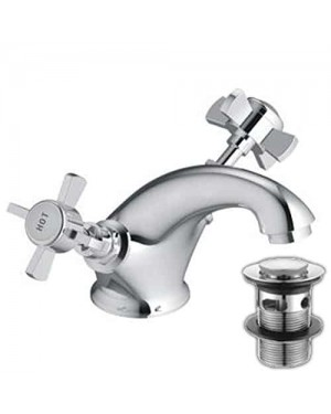 Traditional Beau Range Classic Basin Mixer Including Clicker KC05 Mirrored Chrome Hot Cold Cross Heads