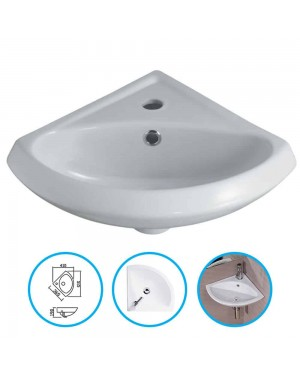 Bathroom Cloakroom Ceramic 1 Tap Hole Compact Small Mini Corner Wash Basin Sink