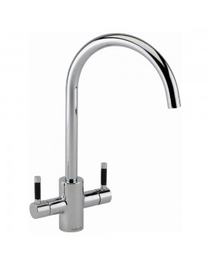 Reginox - Genesis Chrome Black Handles Kitchen Sink Mixer Tap Dual Lever