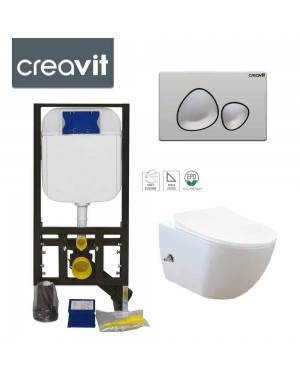 Rimless Wall Hung Bidet Douche Toilet Pan Incl Frame & SPA Chrome Button