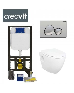 Concealed Wall Hung Toilet Adjustable Cistern Frame & Flush Plate SPA Chrome
