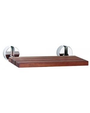 Ultra LA371 Wooden Shower Seat Chrome Hinges - Wood