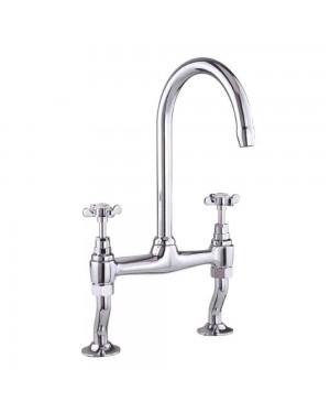 Prestige Traditional Bridge Kitchen Sink Mixer Tap, Dual Handle, Chrome