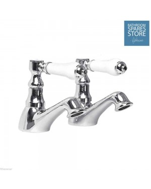 1/4 Turn Antique Victorian Style Chrome Bathroom Hot & Cold Basin Taps (bloom)