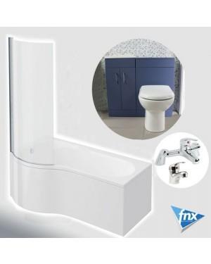 Lomond P Shape Left Hand Bathroom Suite in Storm Blue Vanity Unit BTW Pan Tap Set