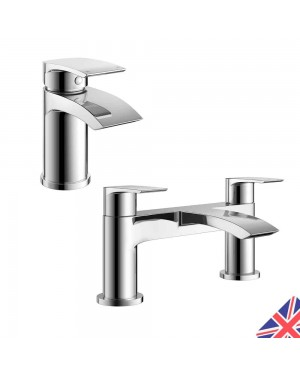 Square Waterfall Chrome Bath Filler Mixer & Basin Sink Mono Tap
