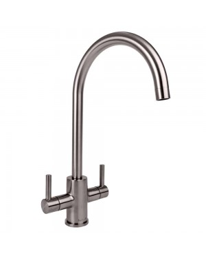 Reginox - Genesis Brushed Nickel Mono Kitchen Sink Mixer Tap Dual Lever