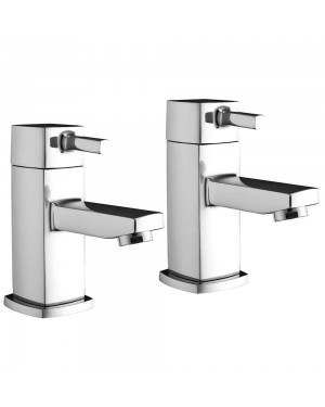 Rossi Modern Square Lever BATH Taps Chrome Pair Bathroom Solid Brass Hot & Cold