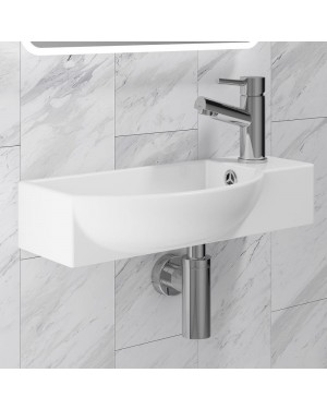 Curved Bathroom Basin Sink  Wall Hung Including Tap & Bottle Trap